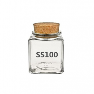 Small 100ml Square Glass Storage Jar with Cork Stopper for Spice Herbs