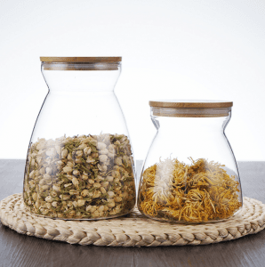 1000ml Glass Kitchen Storage Jar Canister with Bamboo Lid