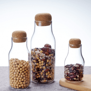 Custom  Borosilicate Glass Food Storage jar Container with Cork