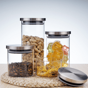 Multi Size Borosilicate Glass Jar with Stainless Steel Lid