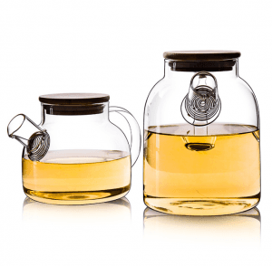 50OZ Glass Tea Carafe with Handle and Wooden Lid