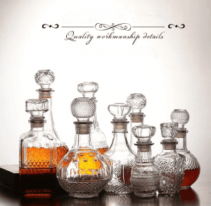 500ml 1000ml Embossed Whiskey Glass Decanter Bottle with Stopper