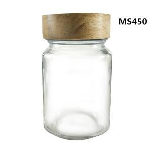 100% Original Glass Jar Container - 400ML Regular Square Glass Mason Coffee Jar with Wooden Lid – Menbank