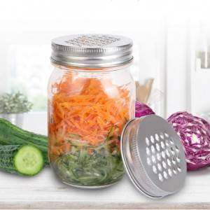 16OZ Glass Mason Jar With Stainless Steel Grater Lid