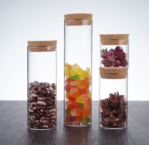 Glass Tube Bottle with Cork for Candy
