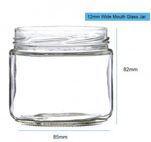 12OZ Wide Mouth Round Glass Salsa Jar with Lid 82-400