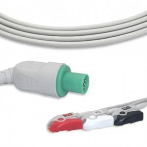 GE-Hellige ECG Cable With 3 Leadwires AHA G3111P