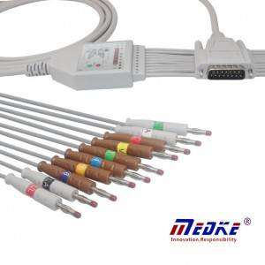 Mindray/Edan 01.57.107048 EKG Cable With 10/12 Leadwires, AHA, 4.0 Banana K1121B