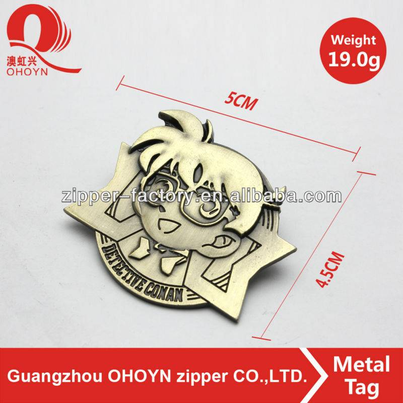 Professional guangzhou bag accessories gold metal tag