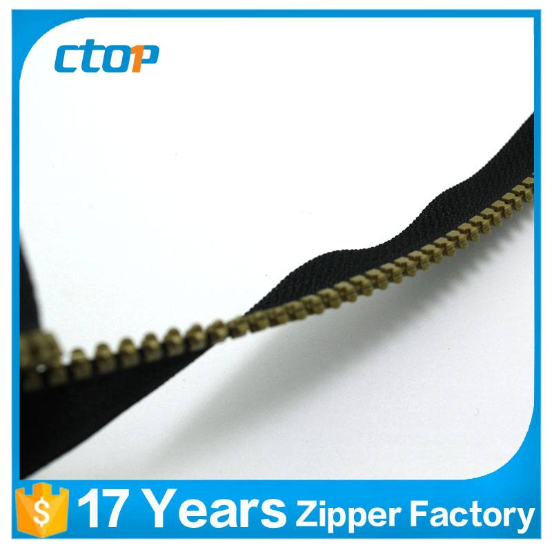 wholesale prices custom bags accessory plastic gold teeth zipper