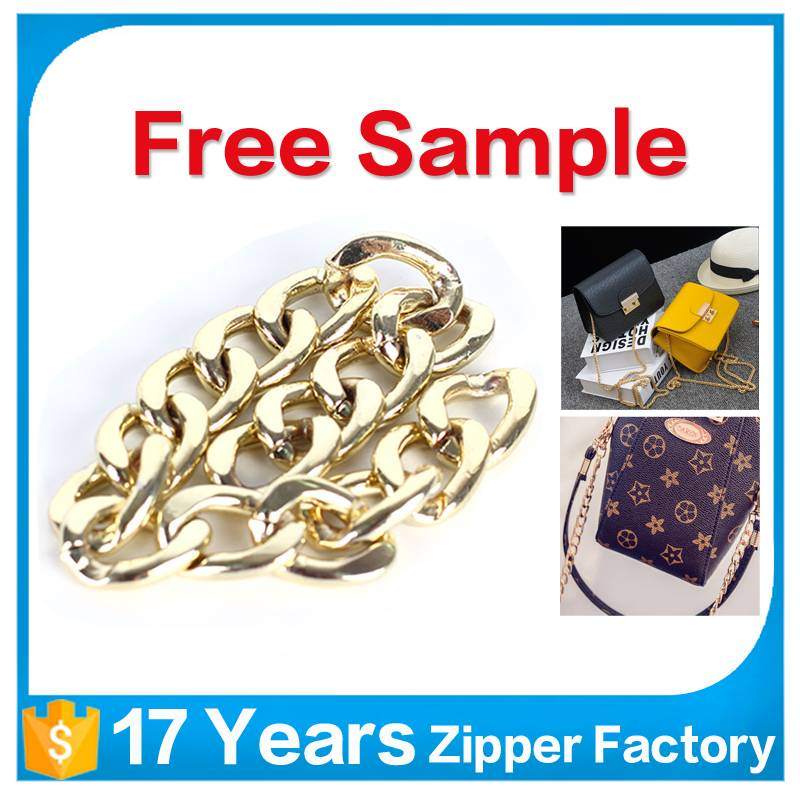 wholesale custom light golden link stainless steel metal handbag chain bag metal chain