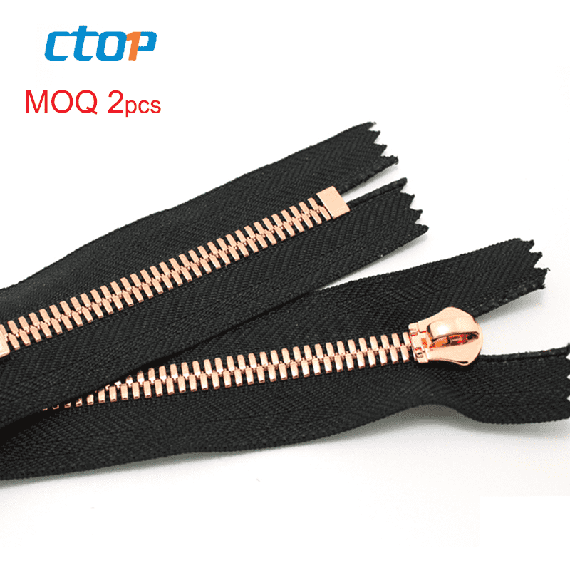wholesale plating meter double-sided zippers for leather jackets