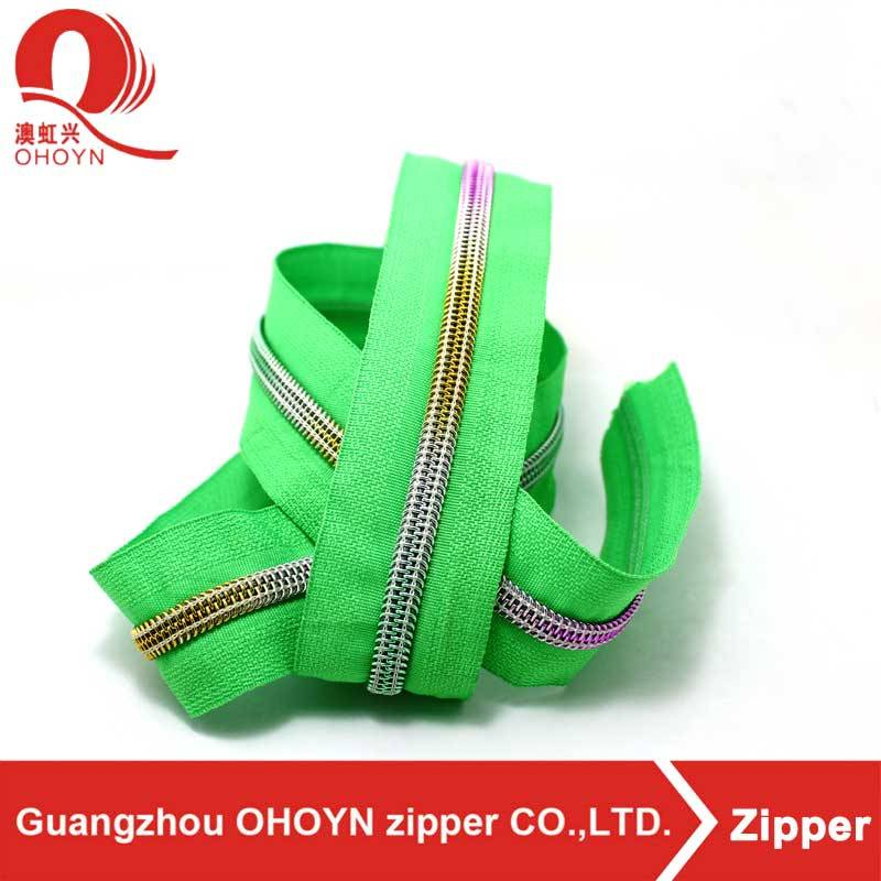 blue tape custom length new design rainbow colorful nylon zipper