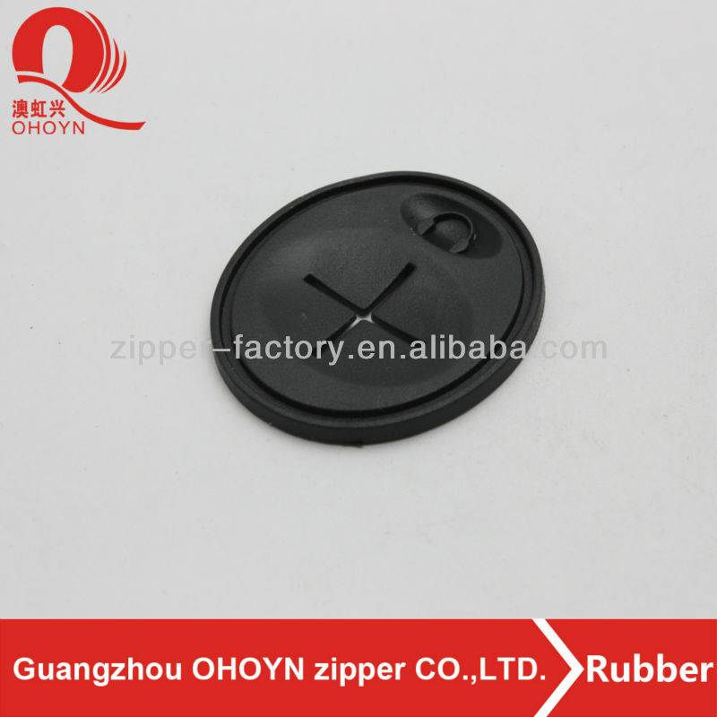 Special eco-friend free-nickel black round black garment rubber tag