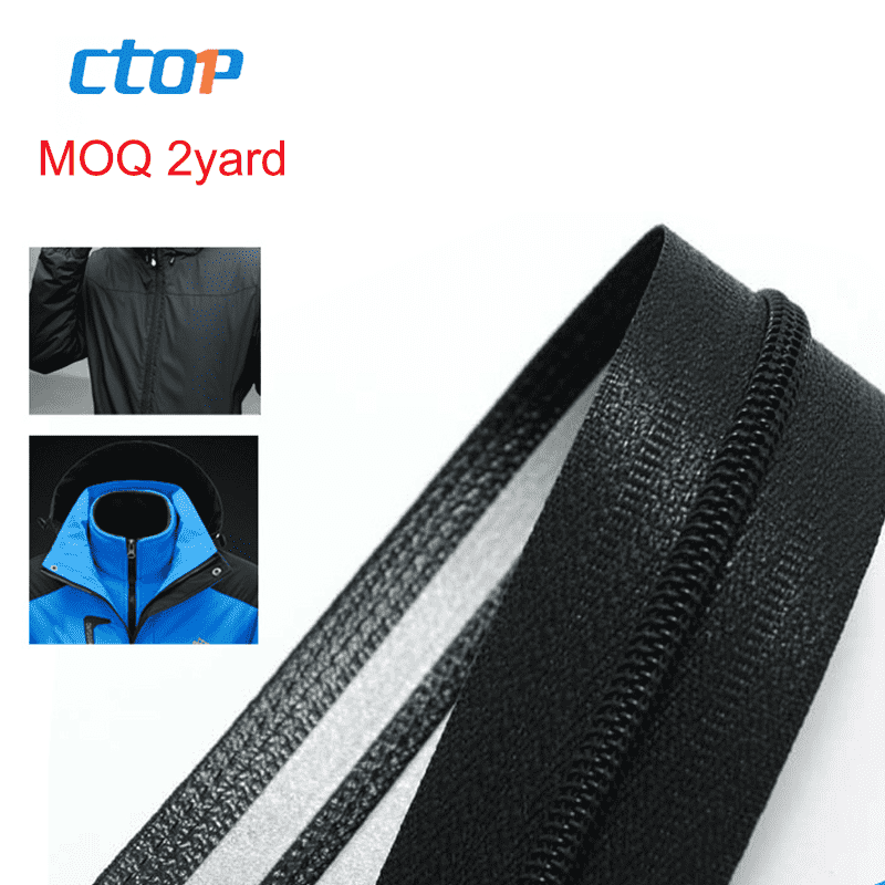 Guangzhou factory wholesale waterproof long chain roll zip custom zipper airtight zipper for garments
