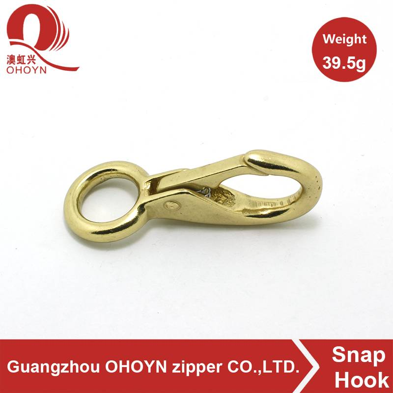 2015 Fashion gold metal solid brass snap hook with round ring