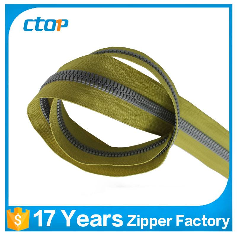 china supply various yellow plastic zipper with long chain