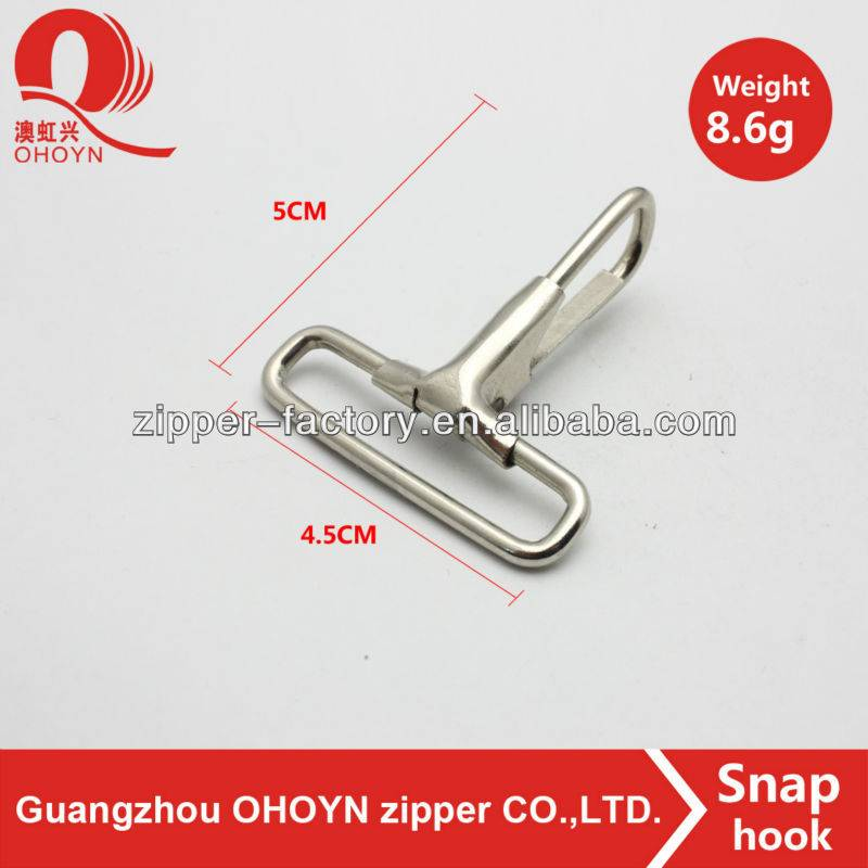Wholesale silver metal zinc alloy spring snap hook custom handbag hook