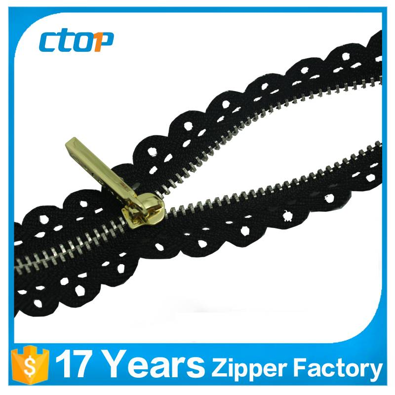 china wholesale gold teeth zipper open end long chain