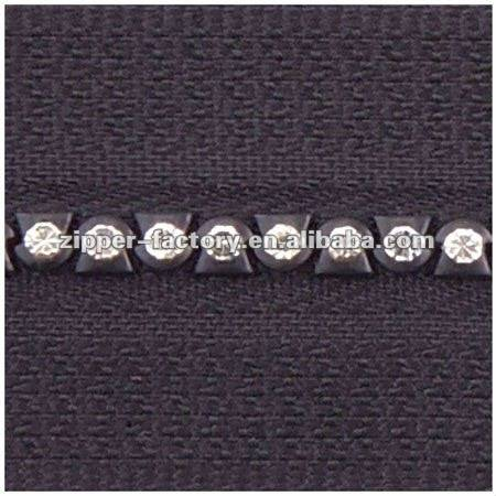 No.3 A Class open end crystal diamond zipper, decorative zippers