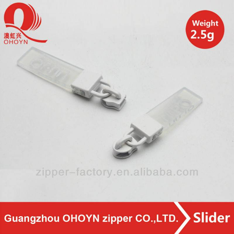 white nylon zipper slider with transparent PVC puller