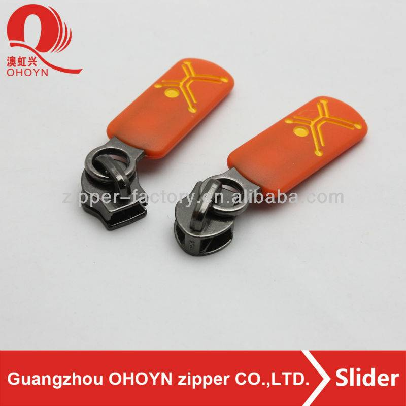 high quality custom shape plastic pulls luggage metal engrave zipper slider