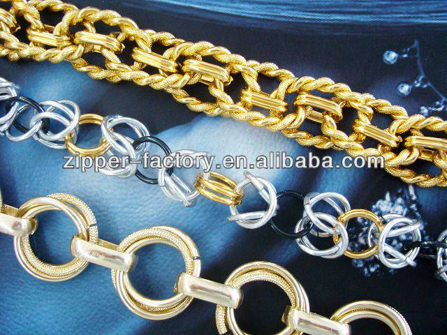 custom length and color long metal chains for bag