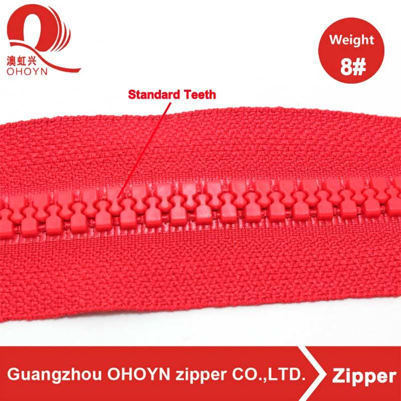 2017 Good Quality Metal Eyelets - High quality NO.5 open end red tape plastic zipper – MEGA TRIMMING