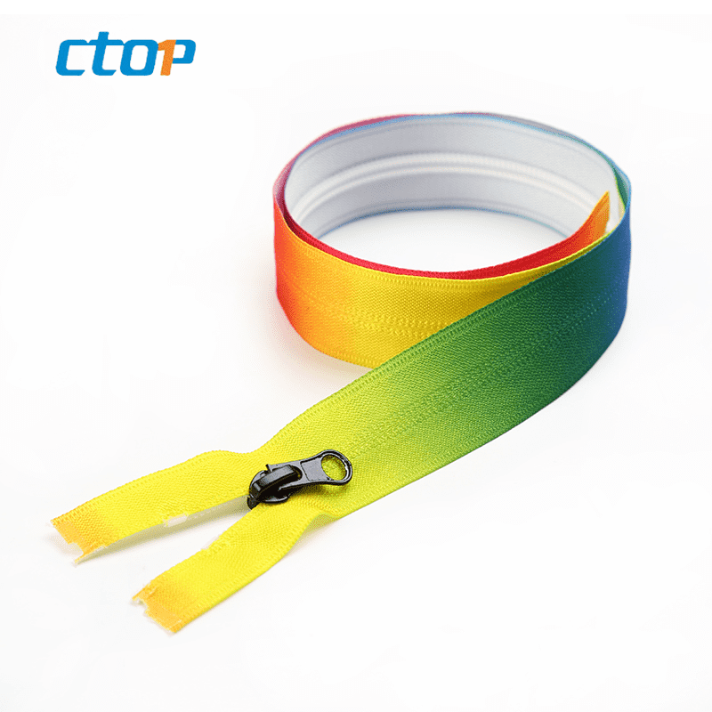 Wholesale colored custom engraved zipper rainbow teeth zipper