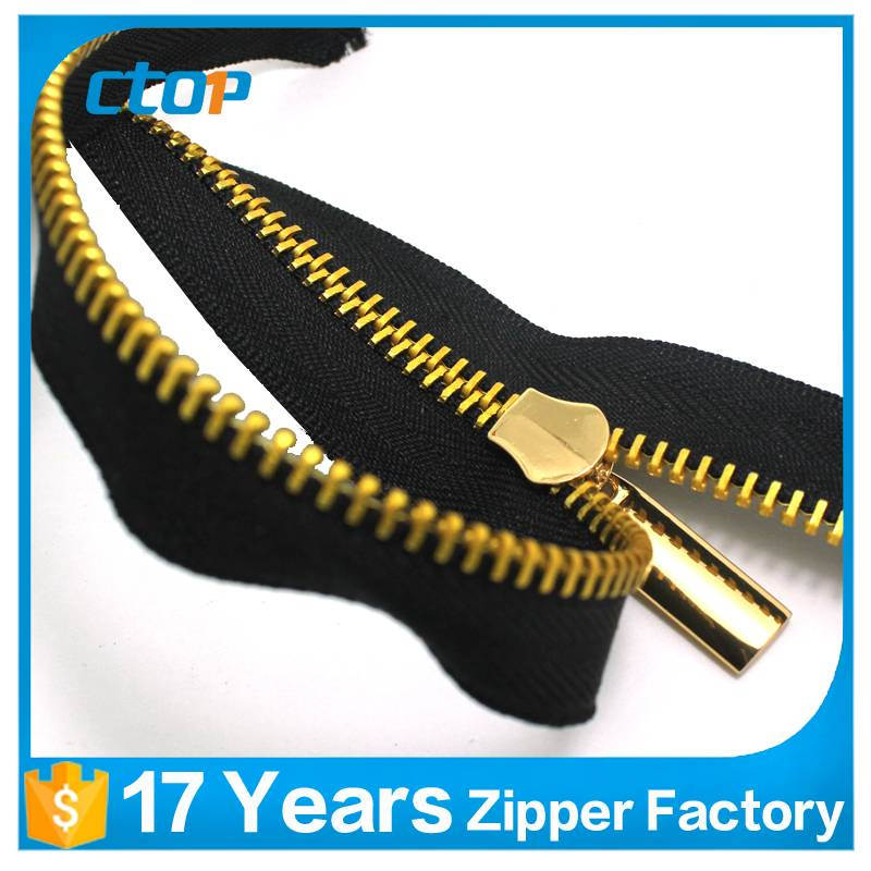custom fashion high quality metal continuous industrial zipper for bag