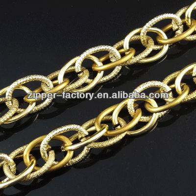 Fashion apparente low price metal chain for bag, light gold metal long chain