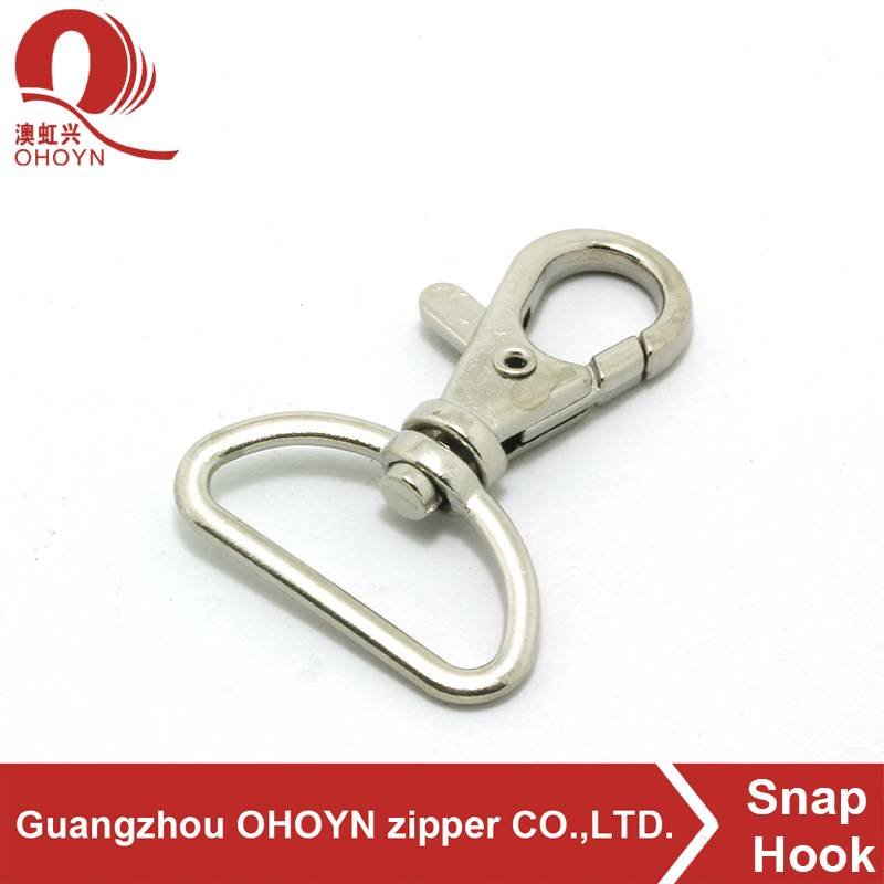 custom plating metal hanger zinc alloy snap d hooks
