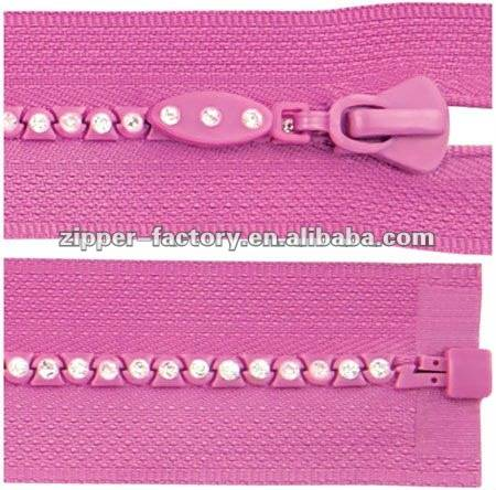 No.3 A Class crystal zipper open end with one crystal stones customized tape color