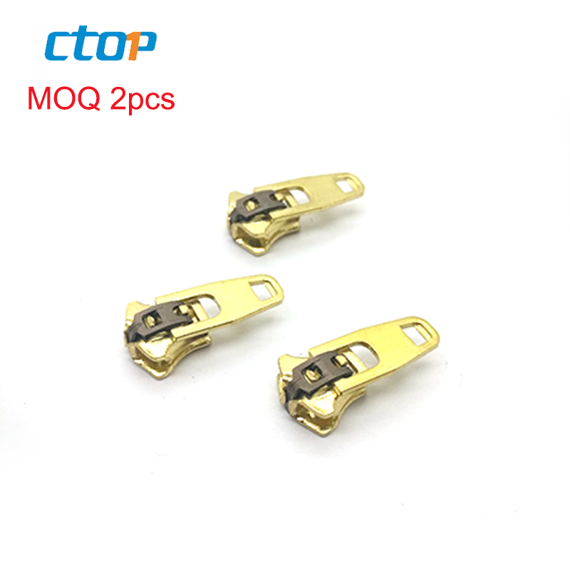 Guangzhou factory customize brass zips parts accessories slider zipper runner metal zipper slider for clothing