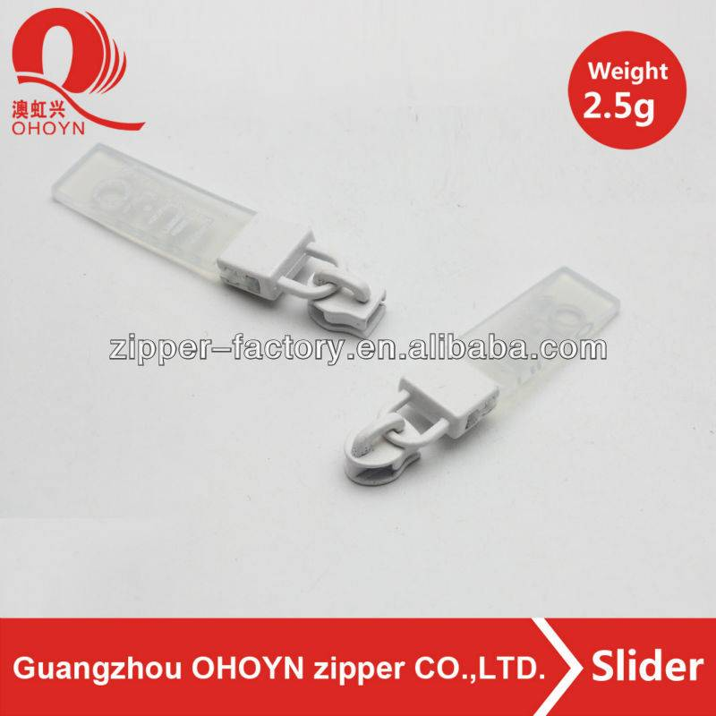 Fancy transparent zipper puller with white metal slider