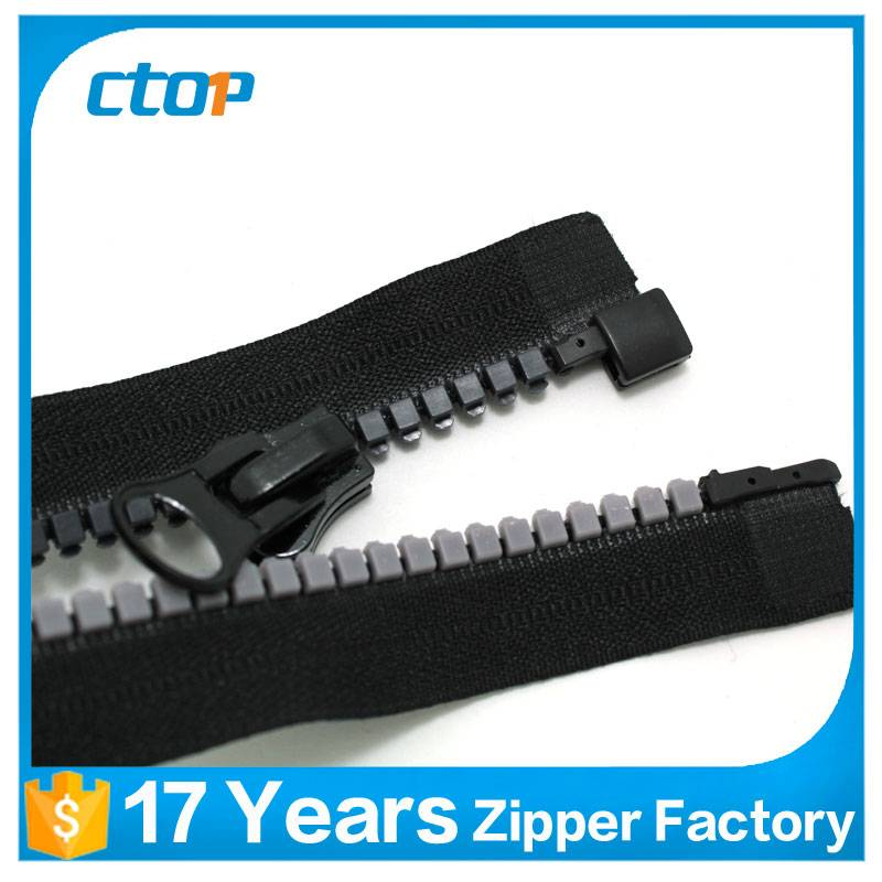 factory reasonable price open end long chain custom plastic zipper for sale