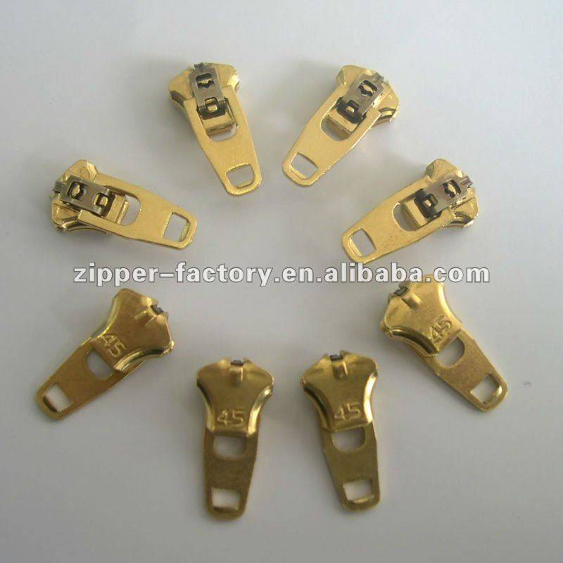 3YG(4.5YG) brass non-magnetic spring lock slider jeans slider light gold wholesale
