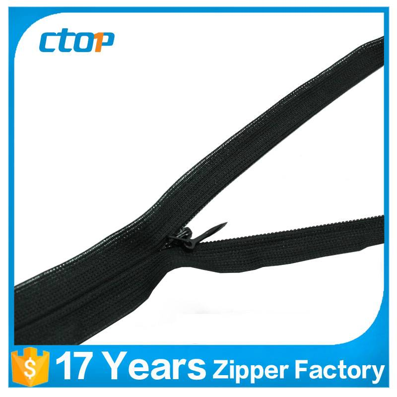 high quality low price custom invisible woven tape zipper