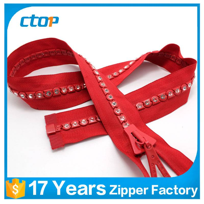 fashion style fancy custom plastic diamond rhinestone zipper