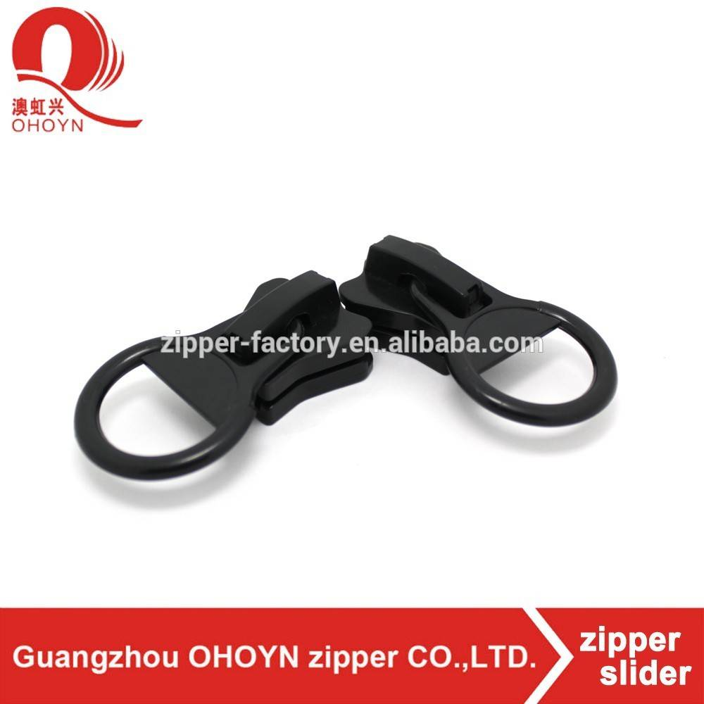 Large black pvc zipper puller plastic zipper slider