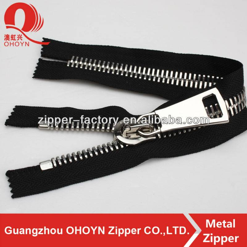 Fashion plating nickel color gold reverse coil aluminum metal zipper