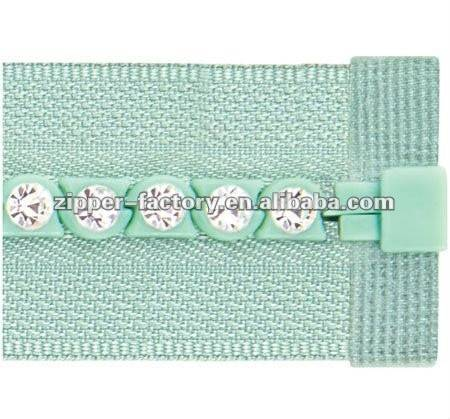 No.3 A Class decorative diamond zipper open end plastic zipper