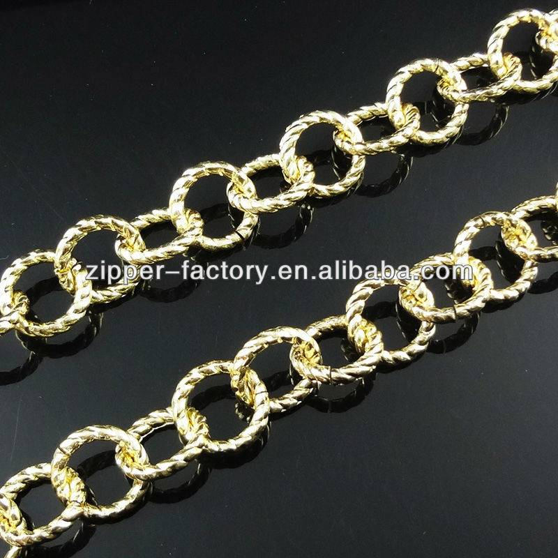 Fashion light gold metal o link chain