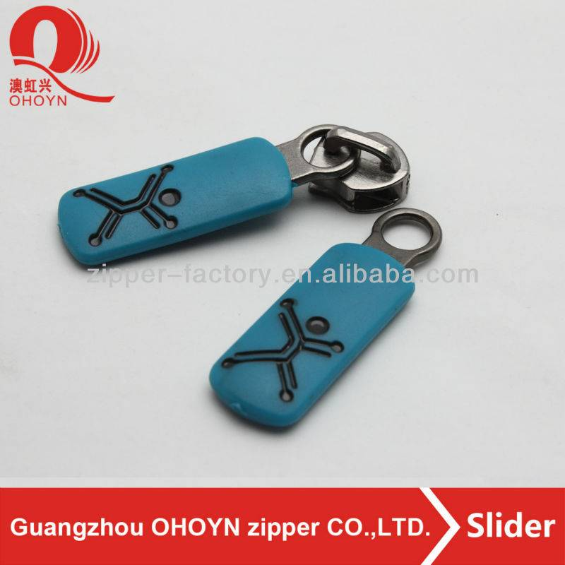 Blue plastic zipper puller engrave black fashion human shape, metal silver zipper slider