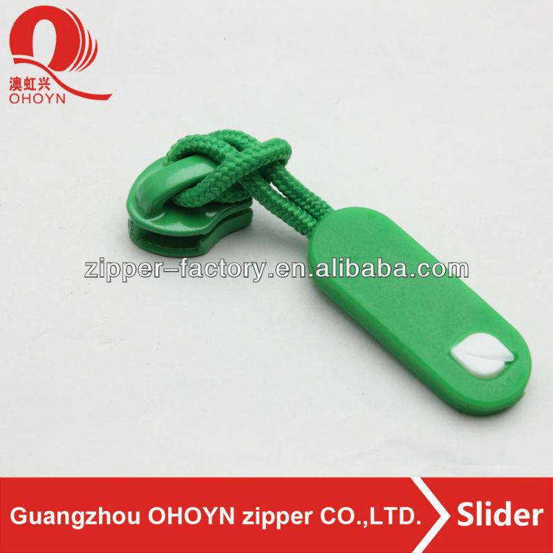 green color non lock zipper puller slider for bag parts