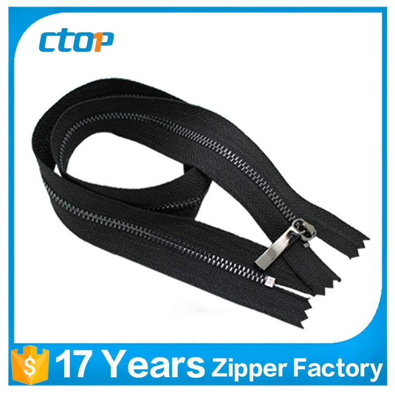 3# silver plating close end metal zipper supplier