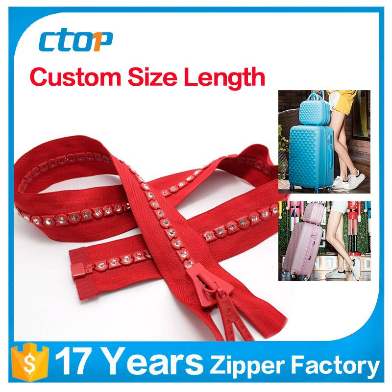 zipper factory crystal stones design fashion open end diamond zipper