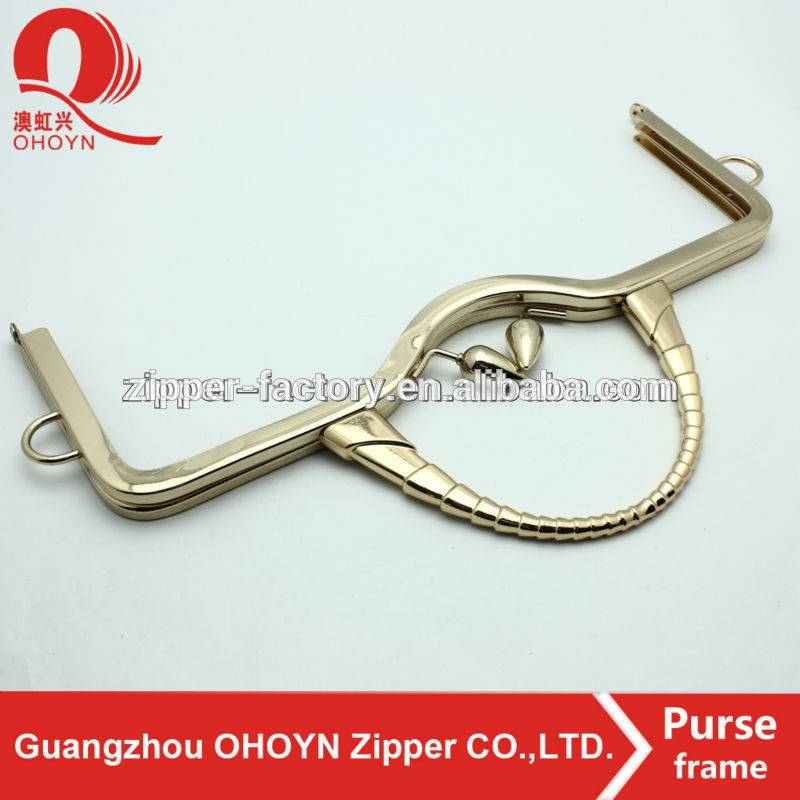 Professional guangzhou high quality anti brass metal clutch purse frame