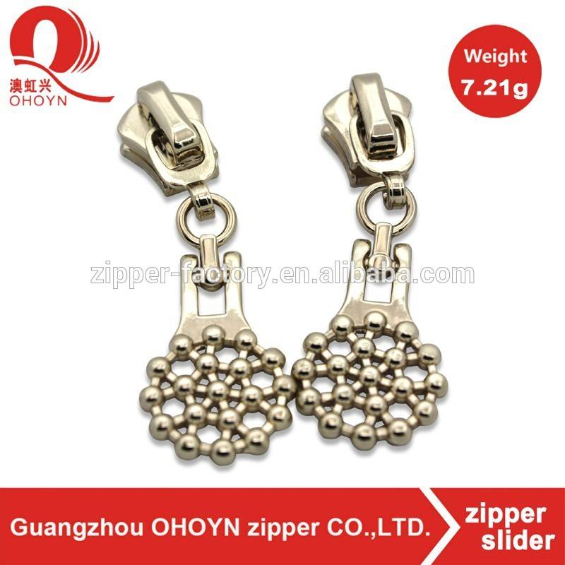 Fashioned flower shaper design zipper sliders and pullers custom metal zipper slider