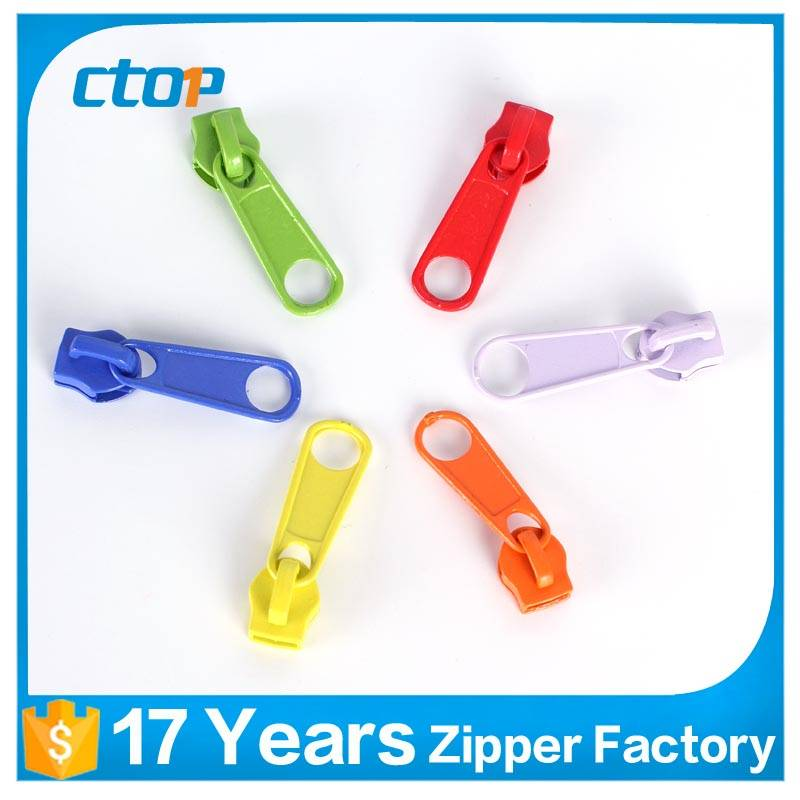 Custom colorful nice high grade luggage metal zipper slider zipper puller slider
